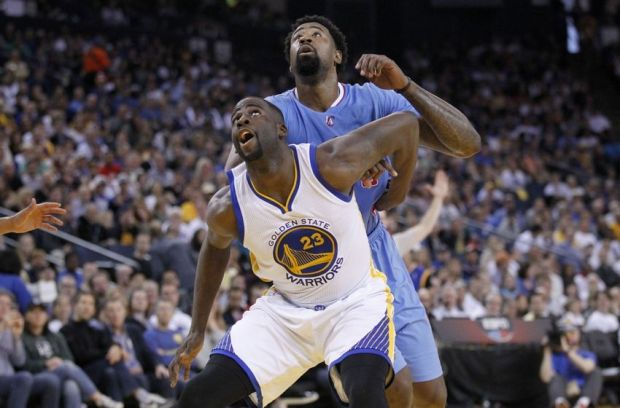 Mar 8, 2015; Oakland, CA, USA; Golden State Warriors forward Draymond Green (23) boxes out Los Angeles Clippers center DeAndre Jordan (6) in the second quarter at Oracle Arena. Mandatory Credit: Cary Edmondson-USA TODAY Sports