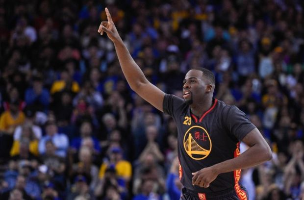 February 20, 2015; Oakland, CA, USA; Golden State Warriors forward Draymond Green (23) celebrates during the fourth quarter against the San Antonio Spurs at Oracle Arena. The Warriors defeated the Spurs 110-99. Mandatory Credit: Kyle Terada-USA TODAY Sports
