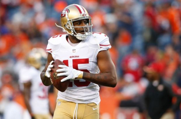 Oct 19, 2014; Denver, CO, USA; San Francisco 49ers wide receiver Michael Crabtree (15) before the game against the Denver Broncos at Sports Authority Field at Mile High. Mandatory Credit: Chris Humphreys-USA TODAY Sports