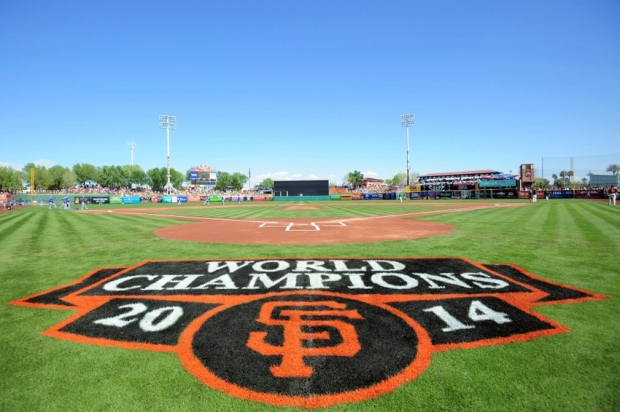 Mar 9, 2015; Scottsdale, AZ, USA; A general view of the field prior to a spring training baseball game between the San Francisco Giants and the Los Angeles Dodgers at Scottsdale Stadium. Mandatory Credit: Joe Camporeale-USA TODAY Sports