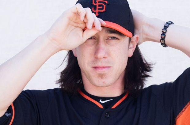 Feb 27, 2015; Scottsdale, AZ, USA; San Francisco Giants pitcher Tim Lincecum (55) poses for a photo during photo day at Scottsdale Stadium. Mandatory Credit: Allan Henry-USA TODAY Sports