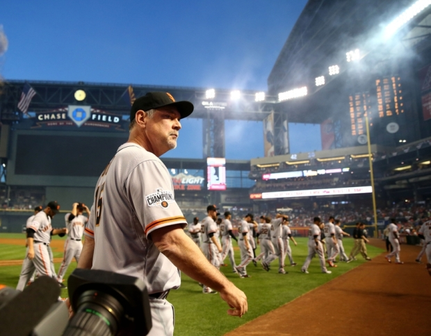 Apr 6, 2015; Phoenix, AZ, USA; San Francisco Giants manager Bruce Bochy prior to the game against the Arizona Diamondbacks during opening day at Chase Field. Mandatory Credit: Mark J. Rebilas-USA TODAY Sports