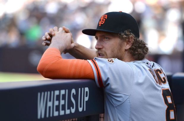 Apr 9, 2015; San Diego, CA, USA; San Francisco Giants right fielder Hunter Pence (8) in the dugout during the third inning against the San Diego Padres at Petco Park. Mandatory Credit: Jake Roth-USA TODAY Sports