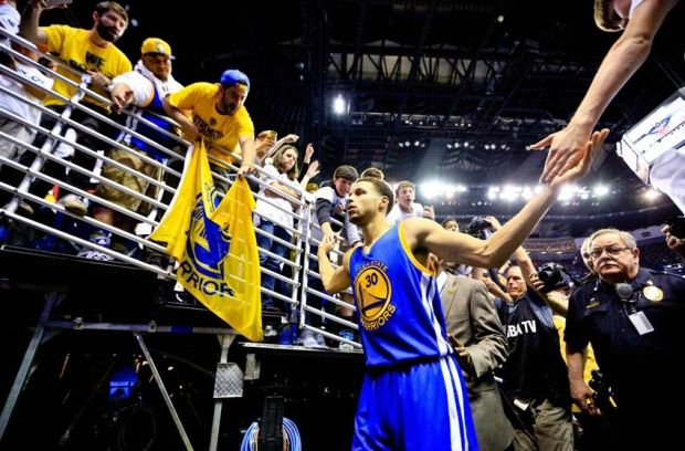 Apr 25, 2015; New Orleans, LA, USA; Golden State Warriors guard Stephen Curry (30) walks off the court after a win against the New Orleans Pelicans game four of the first round of the NBA Playoffs at the Smoothie King Center. The Warriors defeated the Pelicans 109-98. Mandatory Credit: Derick E. Hingle-USA TODAY Sports