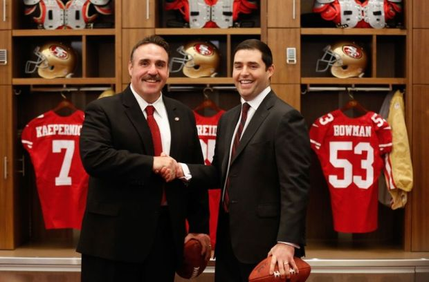 Jan 15, 2015; Santa Clara, CA, USA; San Francisco 49ers head coach Jim Tomsula (L) shakes hands with owner Jed York (R) in the locker room after a press conference for the introdution of Tomsula as the head coach at Levi's Stadium Auditorium. Mandatory Credit: Kelley L Cox-USA TODAY Sports