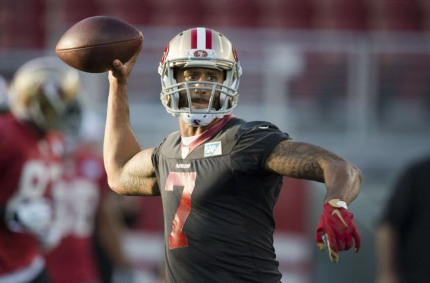 August 1, 2015; Santa Clara, CA, USA; San Francisco 49ers quarterback Colin Kaepernick (7) passes the football during training camp at Levi's Stadium. Mandatory Credit: Kyle Terada-USA TODAY Sports