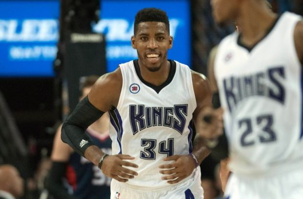 Mar 16, 2015; Sacramento, CA, USA; Sacramento Kings forward Jason Thompson (34) smiles after scoring a basket against the Atlanta Hawks at Sleep Train Arena. The Atlanta Hawks defeated the Sacramento Kings 110-103. Mandatory Credit: Ed Szczepanski-USA TODAY Sports