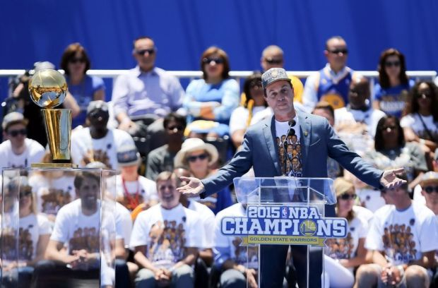 Jun 19, 2015; Oakland, CA, USA; Golden State Warriors owner Joe Lacob during the Golden State Warriors 2015 championship celebration at the Henry J. Kaiser Convention Center. Mandatory Credit: Kelley L Cox-USA TODAY Sports